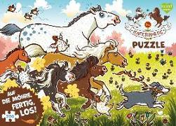 Cover-Bild zu Die Haferhorde Puzzle - Auf die Möhre, fertig, los! von Kolb, Suza