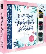 Cover-Bild zu Janssen, Martina Johanna: Handlettering Alphabete Watercolor - Das Starter-Set - Feine Buchstaben mit Pinsel und Brush Pen