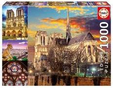 Cover-Bild zu Educa Puzzle. Notre Dame Collage 1000 Teile von Educa (Hrsg.)