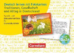Cover-Bild zu Deutsch lernen mit Fotokarten - Grundschule, Traditionen, Gesellschaft und Alltag in Deutschland, Sprech- und Diskussionsanlässe für Grundschulkinder, 72 Karten