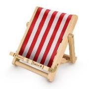 Cover-Bild zu Bookchair Medium Rot-Weiß gestreift - Buchständer - Tablethalter aus Holz