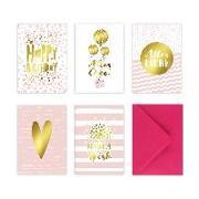 Cover-Bild zu 5 Geburtstagskarten im Set inkl. Umschläge in pink. Rosa Glückwunschkarten zum in DIN A6 mit edler Folienprägung in Gold. Klappkarten zum Geburtstag, Hochzeit, Geburt, Firmung, Konfirmation von Wirth, Lisa