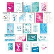 """Cover-Bild zu Postkarten Set """"Sand & Sea"""" - 25 hochwertige Postkarten mit sommerlichen Motiven sowie inspirierenden und motivierenden Sprüchen & Zitaten zum Dekorieren oder Verschicken. Von Hand designte Spruchkarten Sommer, Sonne, Strand & Meer von Wirth, Lisa"""