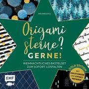 Cover-Bild zu Mielkau, Ina: Origamisterne? Gerne! - Gold Edition - Weihnachtliches Bastelset zum Sofort-Losfalten