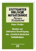 Cover-Bild zu Studien zur biblischen Grundlegung des christlich-jüdischen Verhältnisses von Fiedler, Peter