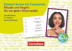 Cover-Bild zu Deutsch lernen mit Fotokarten - Sekundarstufe I/II und Erwachsene, Rituale und Regeln für ein gutes Miteinander, Sprechanlässe für Schüler und Erwachsene, 100 Fotokarten
