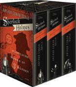 Cover-Bild zu Doyle, Arthur Conan: Sherlock Holmes, Sämtliche Werke - Der Hund der Baskervilles - Das Zeichen der Vier - Eine Studie in Scharlachrot - Das Tal des Grauens und sämtliche Erzählungen (3 Bände im Schuber)