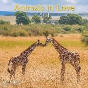 Cover-Bild zu teNeues Calendars & Stationery GmbH & Co. KG: Animals in Love 2021 - Wand-Kalender - Broschüren-Kalender - A&I - 30x30 - 30x60 geöffnet