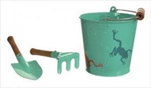 Cover-Bild zu Garten-Frosch-Set mit Eimer, Hacke & Schaufel aus Blech