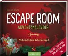 Cover-Bild zu Escape Room Adventskalender. Weihnachtliche Schnitzeljagd. 24 knifflige Rätsel zum Aufschneiden von von Gnatz, Ella