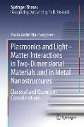 Cover-Bild zu Gonçalves, Paulo André Dias: Plasmonics and Light-Matter Interactions in Two-Dimensional Materials and in Metal Nanostructures