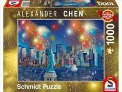 Cover-Bild zu Freiheitsstatue mit Feuerwerk 1000 Teile