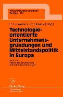 Cover-Bild zu Graack, Cornelius (Hrsg.): Technologieorientierte Unternehmensgründungen und Mittelstandspolitik in Europa