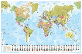 Cover-Bild zu Staaten der Erde mit Flaggen 1:35 000 000, plano in Hülse. 1:35'000'000