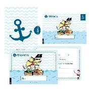Cover-Bild zu 12 Einladungskarten Geburtstag Junge (Piraten). Handgemachte Geburtstag Einladungskarten zum Kindergeburtstag incl. 12 liebevollen Hand designten Briefumschlägen. Verpackt in einer wundervollen hochwertigen Karton Box. By Lisa Wirth von Wirth, Lisa