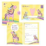 Cover-Bild zu 12 Einladungskarten Geburtstag Einhorn (Mädchen). Handgemachte Einladungskarten Kindergeburtstag inkl. 12 liebevollen Hand designten Briefumschlägen von Wirth, Lisa