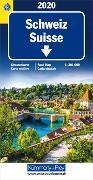 Cover-Bild zu Hallwag Kümmerly+Frey AG (Hrsg.): Schweiz TCS 2020 Strassenkarte. 1:301'000