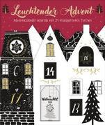 Cover-Bild zu Leuchtender Advent. Edler Adventskalender-Leporello mit 24 transparenten Türchen