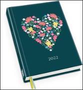 Cover-Bild zu Taschenkalender »Blumenherz« 2022 - Haferkorn & Sauerbrey - Terminplaner mit Wochenkalendarium - Format 11,3 x 16,3 cm