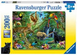 Cover-Bild zu Ravensburger Tiere im Dschungel 200 Teile XXL Kinderpuzzle - Puzzle für Kinder ab 8 Jahren