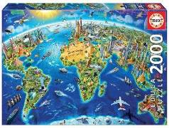 Cover-Bild zu Educa (Hrsg.): Educa Puzzle. World Landmarks Globe 2000 Teile