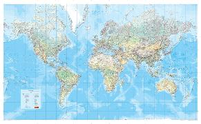 Cover-Bild zu Die Große Weltkarte (physisch) 1:30 000 000, plano in Hülse
