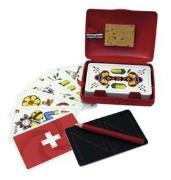 Cover-Bild zu Schweizer Kreuz Jassbox mit deutschschweizer Jasskarten in Plastikbox - Hopp Schwiiz