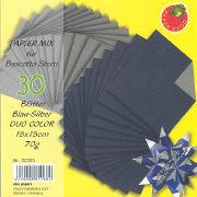 Cover-Bild zu Papier Mix für Bascetta Stern Blau-Silber Duo Color 15x15cm