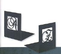 Buchstützen Initialen schwarz