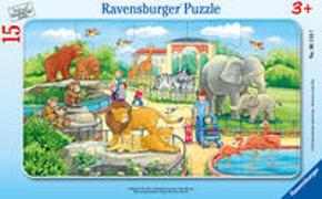 Ravensburger Kinderpuzzle - 06116 Ausflug in den Zoo - Rahmenpuzzle für Kinder ab 3 Jahren, mit 15 Teilen