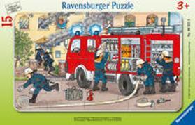 Ravensburger Kinderpuzzle - 06321 Mein Feuerwehrauto - Rahmenpuzzle für Kinder ab 3 Jahren, mit 15 Teilen