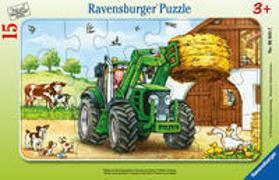 Ravensburger Kinderpuzzle - 06044 Traktor auf dem Bauernhof - Rahmenpuzzle für Kinder ab 3 Jahren, mit 15 Teilen