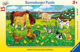 Ravensburger Kinderpuzzle - 06046 Bauernhoftiere auf der Wiese - Rahmenpuzzle für Kinder ab 3 Jahren, mit 15 Teilen