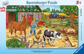 Ravensburger Kinderpuzzle - 06035 Glückliches Bauernhofleben - Rahmenpuzzle für Kinder ab 3 Jahren, mit 15 Teilen