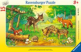 Ravensburger Kinderpuzzle - 06376 Tierkinder des Waldes - Rahmenpuzzle für Kinder ab 3 Jahren, mit 15 Teilen