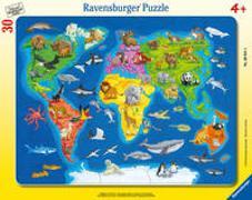 Ravensburger Kinderpuzzle - 06641 Weltkarte mit Tieren - Rahmenpuzzle für Kinder ab 4 Jahren, mit 30 Teilen