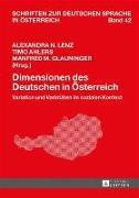Cover-Bild zu Lenz, Alexandra N. (Hrsg.): Dimensionen des Deutschen in Oesterreich (eBook)