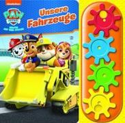 Cover-Bild zu Phoenix International Publications Germany GmbH (Hrsg.): PAW Patrol - Unsere Fahrzeuge - Interaktives Pappbilderbuch mit 4 Zahnrädern und 5 Geräuschen für Kinder ab 3 Jahren