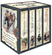 Cover-Bild zu Die großen Klassiker der Abenteuerliteratur (im Schuber) - Robinson Crusoe - Moby Dick - Die Schatzinsel - Tom Sawyer & Huckleberry Finn von Defoe, Daniel