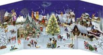 Cover-Bild zu Behr, Barbara (Illustr.): Winterabend im Dorf - Nostalgischer Schiebekalender