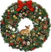 Cover-Bild zu Behr, Barbara (Illustr.): A3 Wandkalender - Kleiner Weihnachtskranz mit Reh