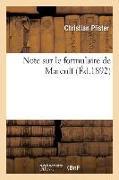 Cover-Bild zu Note Sur Le Formulaire de Marculf von Pfister, Christian
