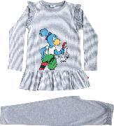 Cover-Bild zu Globine Pyjama langarm hellgrau/weiss gestreift Lupe 122/128