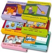"""Cover-Bild zu Großes Paket: Bildkarten zur Sprachförderung enthält die Bildkartensets """"Reime"""", """"Zusammengesetzte Nomen"""", """"Einzahl-Mehrzahl"""", """"Präpositionen"""", """"Was stimmt hier nicht?"""" und """"Silben"""" von Boretzki, Anja (Illustr.)"""