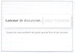 """Cover-Bild zu Lanceur de Discussion """" pour Homme"""""""