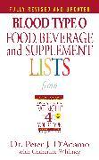 Cover-Bild zu Blood Type O Food, Beverage and Supplement Lists (eBook) von D'Adamo, Peter J.
