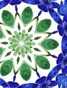 Cover-Bild zu Barr, Kateri Catherine: Watercolor Blue Dahlia Flower 9-Pointed Mandala Half Blank Half College Lined Composition Book: Spiritual Self-Help Therapy Relaxation Inspirational S