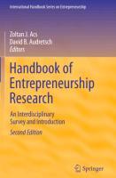 Cover-Bild zu Handbook of Entrepreneurship Research von Acs, Zoltan J. (Hrsg.)