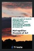 Cover-Bild zu Museum of Art, Metropolitan: Tentative Lists of Objects Desirable for a Collection of Casts, Sculptural and Architectural, Intended to Illustrate the History of Plastic Art