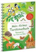 Cover-Bild zu Mein dickes Tierstickerbuch. Rätselspaß mit Igel, Fuchs und Meise von Reichenstetter, Friederun